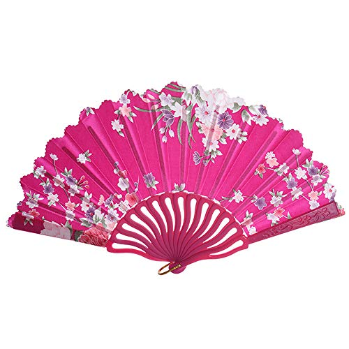 Konxxtt Chinese Folding Vintage Retro Fabric Fans, Rose Lace Folding Hand Held Fans for Wedding, Church, Party, Gifts(Hot Pink,24cm/9.44