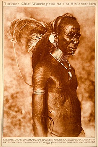 1923 Rotogravure Turkana Chief Portrait Kenya Ethnic Costume Body Art