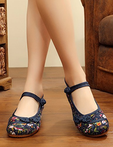 Small Fowers Canvas Flats Femmes Chaussures Semelle Bleu Souple Noues Chinois Stamp Casual Mary Jane q6Efwng