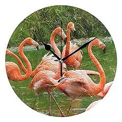 Ladninag Wall Clock Flamingo Playing Silent Non Ticking Decorative Round Digital Clocks for Home/Office/School Clock
