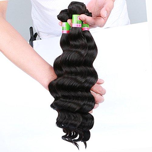 Eecamail 7A Top Quality Brazilian Virgin Remy Loose Wave Hair Extension 4 Bundles 100g/bundle Natural Black 18 20 22 24inch