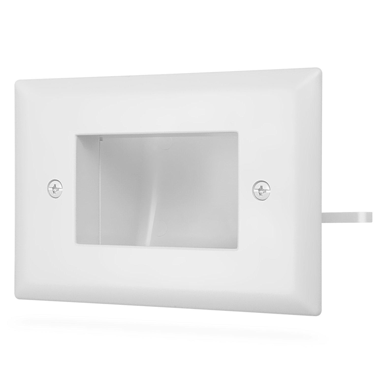 Fosmon 1-Gang In-Wall Installation pour Speaker Wires Brosse Plaque Murale Pour C/âble Sortie Mur Prise ou Network // C/âbles T/él/éphoniques Coaxial C/âble 2 Pack HDMI Cables