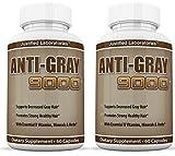 Anti Gray Hair 9000 Helps Restore Natural Hair Color 60 Capsules Per Bottle 2 Pack