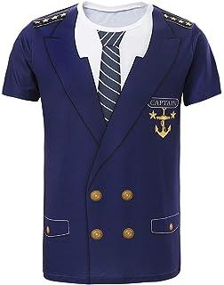 a4e1d650c Amazon.com: Funny World Men's Captain Costume T-Shirts: Clothing
