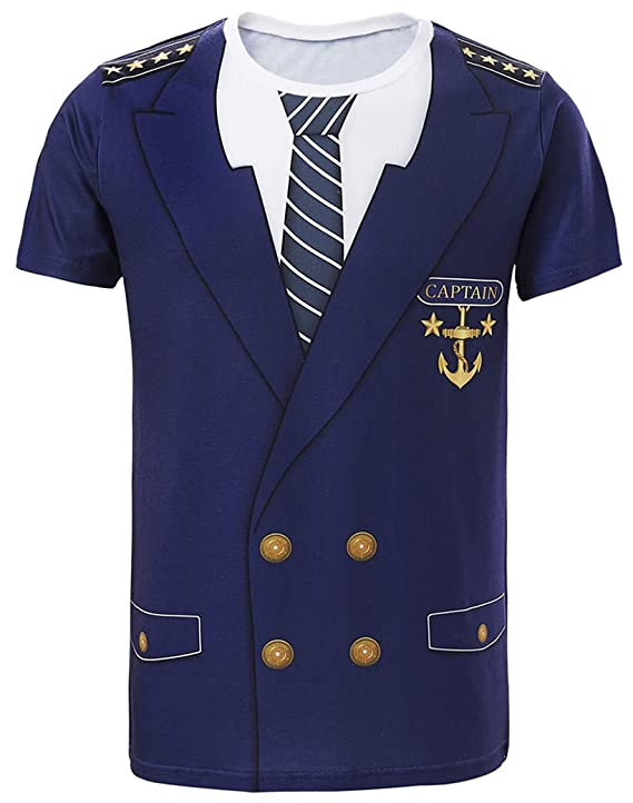 Funny World Men's Captain Costume T-Shirts (L, Blue)