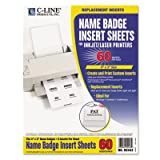C-Line Products - C-Line - Additional Laser/Inkjet Badge Inserts, 3 x 4, White, 60/Pack - Sold As 1 Pack - Create name badges instantly with your inkjet or laser printer. - Pressure-sensitive badges should not be applied to vinyl, leather, suede, corduroy