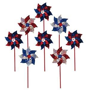 In the Breeze Patriotic Mylar Pinwheel Spinners (8 PC assortment)