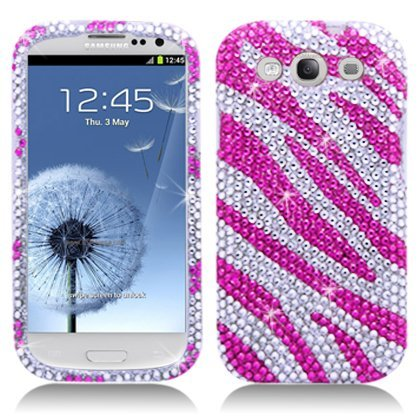 Importer520 Rhinestone Crystal Bling Diamond Hard Case Cover for Cricket/MetroPCS/Verizon/Sprint/AT&T/T-Mobile Samsung Galaxy Galaxy S3 SIII I9300 (Hot Pink Zebra)