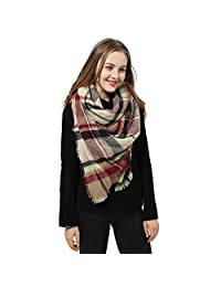 Womens Blanket Scarf Shawl Wrap Plaid Cozy Pashmina Winter Fashionable Scarves