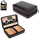 COMMODA Portable Genuine Leather Cedar Cigar Travel Case Cedar Humidor Digital Hygrometer Cutter