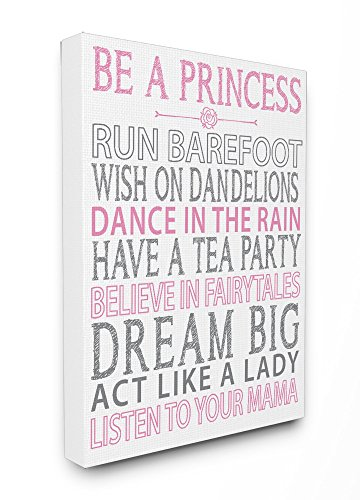 Stupell Home Décor Be a Princess Pink Typog Stretched Canvas Wall Art, 16 x 1.5 x 20, Proudly Made in USA (Canvas Wall Hanging Princess)