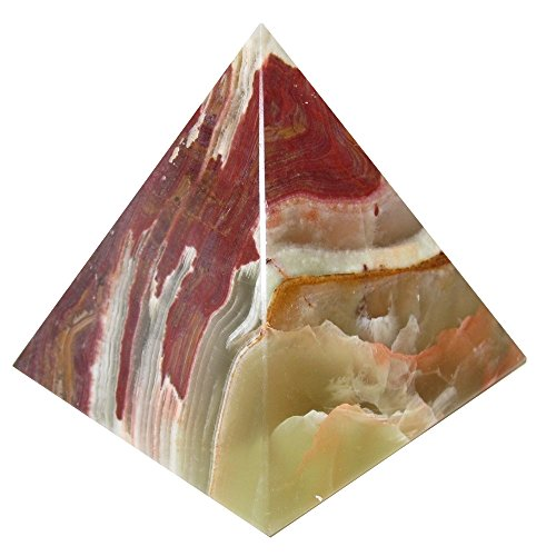 Onyx Pyramid Banded 30 Brown Red Green Stripe Crystal Premium Gemstone Carving Positive Energy Rock 2.6