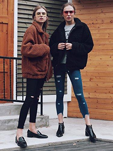 Outwear Laine Automne Rouge Blouson Lapel avec Manteau Groseille Veste Oversize Zipper Hiver Femme Longues Walant Manches Manteau Coton Casual Poches Chaud 7Rxaw