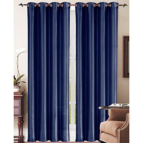 LuxuryDiscounts 2 Piece Solid Navy Blue Faux Silk Grommet Window Curtain Treatment Panel Drapes 54