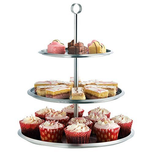 VonShef 3 Tier Stainless Steel Cake Serving Stand Tray To Display Cakes, Cupcakes, Cookies, Tapas, Buffets | Perfect For Christmas / Party / Wedding Food Displays | Height 15 Inches