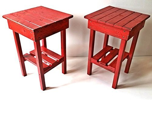 Amazon.com: Distressed Night Stand Set /red Distressed End Table Set ...