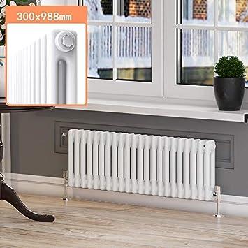 ELEGANT Traditional Cast Iron Radiator 600 x 988 mm White Double Column Horizontal Radiators