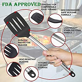 Cooking Silicone Utensils Set 10 — Best Nonstick Kitchen Cookware Utensil Sets — Large Hanging Spoons Spatula Set – Non Toxic Cook Gadget Kit Black