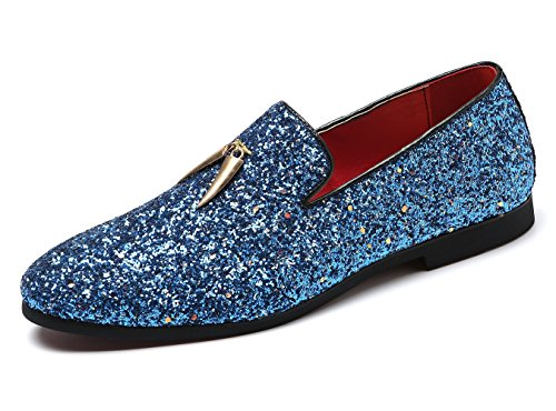 XRDshoes Mens Sparkling Mens Sparkling Smoking Slipper Party Fringe Glitter Dress Shoe Non-Slip Loafers ShoeSmoking Slipper Party Fringe Glitter Dress Shoe Non-Slip Loafers Shoe (11.0 D(M) US, Blue) by XRDshoes