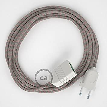 Creative-Cables Alargador eléctrico con Cable Textil RD51 Algodón y Lino Natural Stripes Rosa Viejo