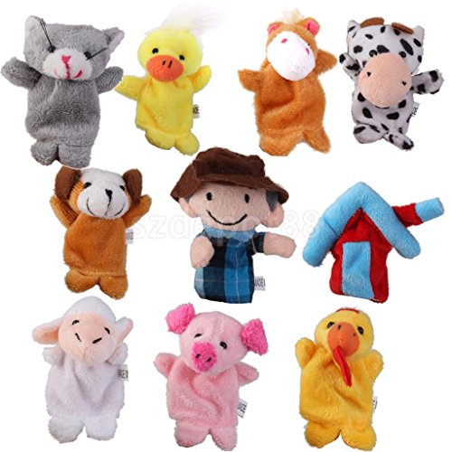 10x Old MacDonald Farm Animal Finger Puppets TOYS BOYS GIRL PARTY BAG FILLER by uptogethertek