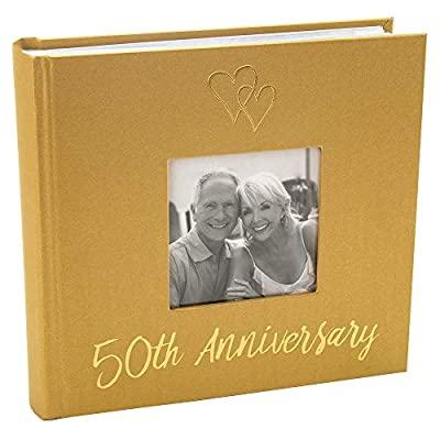 Haysom Interiors Lovely Golden 50th Wedding Anniversary Photo Album with Double Heart Decoration by Happy Homewares