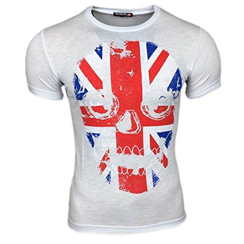 London Flag Kurzarm Herren T-Shirt Flagge Shirt Skull Shirt Schwarz Grau Weiß, Größe:XXL, Farbe:Weiß