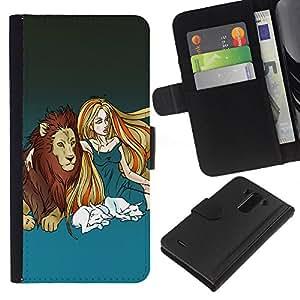 KLONGSHOP // Tirón de la caja Cartera de cuero con ranuras para tarjetas - Lion & Muchacha rubia - LG G3 //