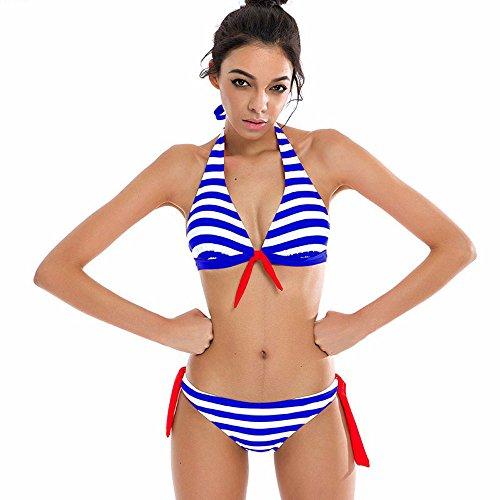 Mujeres Push Up Bañador Rayas Impresión IHRKleid® Mujeres Trajes Vendaje Cruzar Bandeau Bikinis Ropa de baño Azul