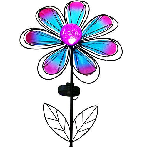 BRIGHT ZEAL 12 Large Metal & Glass Solar Flowers Yard Art - Outdoor Garden Decorations LED Solar Garden Statue - Yard Decorations Solar Lights - Flower Lights Backyard Solar Garden Decor BZA