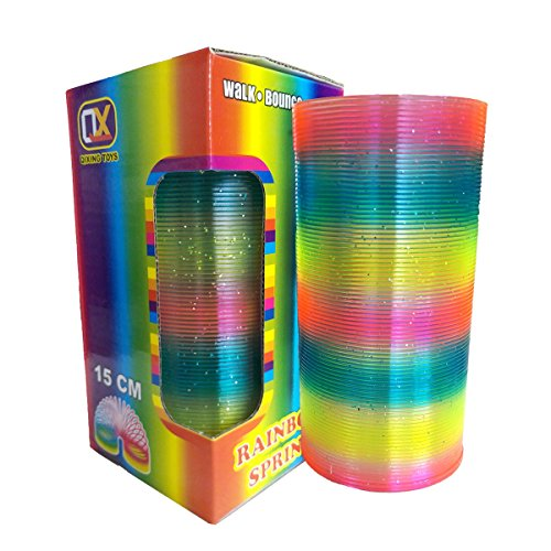 DUUTY Big Slinky Toy Plastic Magic Rainbow Springs Coil Boxed Long Slinkies Toys Bulk Clorful Fun 3x6 inch (with a Mini Slinky) Color Spring Glitter