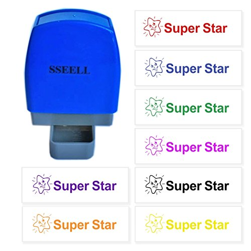 Pre Inked Star (SSEELL Super Star Reward Stamp Self Inking for School Student Teacher Homework Feedback Stamp Rubber Flash Stamp Self-Inking Pre-Inked RE-inkable School Stationary - Red Ink Color)