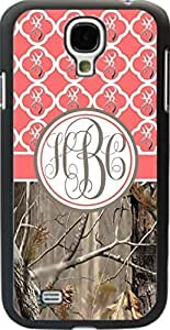 Country Girl Coral Buck Head Camo Quatrefoil Monogram Case Cover For Samsung Galaxy S4