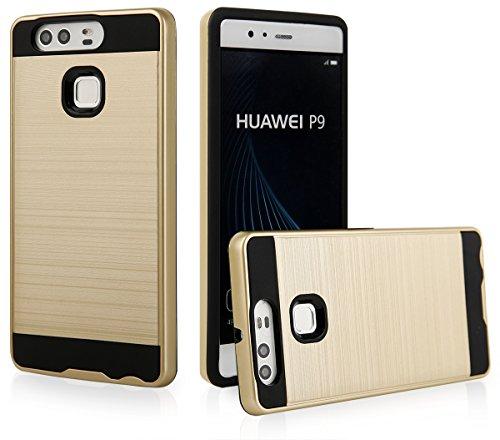 EGO® Hard Case Schutz Hülle für Huawei P9 Gold Metallic Effect Aluminium Brushed Handy Cover Schale Bumper Etui Top-Qualität
