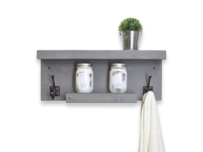 Amazon.com: Rustic 2 Tier Bathroom Shelf with Towel Hooks left and on bathroom towel hook ideas, bathroom towel tree for wall, towel bar with hooks, bathroom towel hooks racks, his and hers towel hooks, bathroom wall shelf with towel bar, mermaid towel hooks, bathroom shelves with hooks, bathroom towel holders, bathroom towel bath decoration, old door knobs towel hooks, bathroom towel racks product, bathroom beadboard with hooks, bathroom mirror with hooks, bath towel hooks, diy shelves with hooks, white shelf with towel hooks, bathroom tub surround tile idea, bathroom towel bar rustic hickory log, towel rack with hooks,