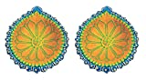 Ramya's Handpainted Earthen Terracotta LARGE Decorative Diwali Diyas - Set of 2 (7109)