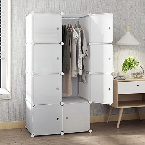 tespo portable closet for hanging clothes armoire wardrobe for bedroom storage cube organizer. Black Bedroom Furniture Sets. Home Design Ideas