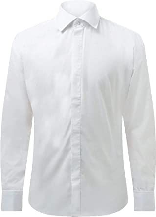 Camisa Blanca Entallada con Cuello Clásico Dobell-40: Amazon.es: Ropa y accesorios