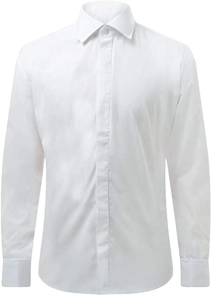 Dobell Camisa Blanca Entallada con Cuello Clásico: Amazon.es: Ropa y accesorios
