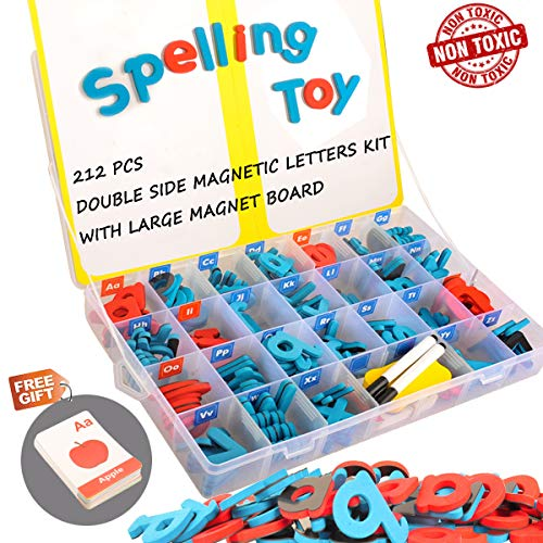 Magnetic Alphabet Letters Foam - Magnetic Letters Kit, 212Pcs A-Z Foam Magnetic Letters, Alphabet Letters with Large Double-Side Magnet Board and Learning Cards, Educational Refrigerator Magnets for Preschool Learning Spelling