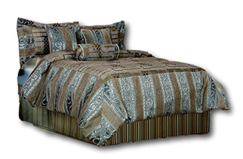 Chenille Jacquard Comforter - Tache Home Fashion 14199A-K 6 Piece Elegant Brown Gold Silver Warm Heavyweight Winter FROST Chenille Jacquard Comforter Bedding Set, King
