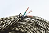 10ft 18/3 Round Black & Brown Zigzag Cloth Covered 3-Wire Round Cord, Fabric Wire Electric Cord Lamp Cord Hanging Pendant Light Fixtures Great for Industrial Vintage Retro DIY Projects UL Listed