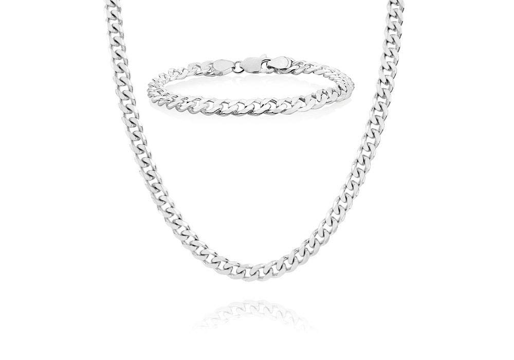 Italian 925 Solid Sterling Silver Mens Necklace,7.5MM 8MM Curb Cuban Chain Necklace for Men- Solid Heavy Link, Thick Link Chain Necklace, 20, 22, 24, 30, (8, 8MM SET 24 Necklace With Bracelet)