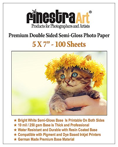 Premium Double Sided Photo Paper - 5x7 100 Sheets Premium Double Sided Semi Gloss Photo Paper 250GSM