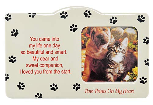 "Home-X Pet Memorial Frame-Sweet Companion Paw Prints On My Heart-Remembrance Picture Frame, Sympathy for Loss of Dog or Cat-Fits Standard 4x6"" Photograph"