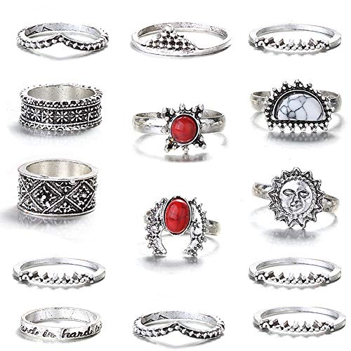 FIBO STEEL 13 Pcs Vintage Knuckle Rings for Women Girls Stackable Midi Finger Ring Set