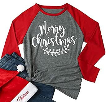 Women's Casual Plus Size Merry Christmas Y'all T-Shirt 3/4 Sleeve O-Neck Letter Baseball Tee Tops - Grey - XX-Large