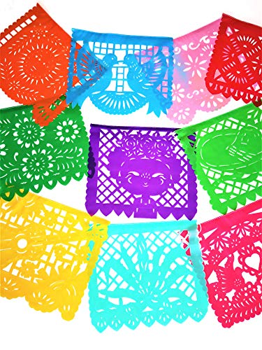 Muunek Large Plastic Papel Picado Banner Mexico Querido 10 Panels 18ft. Long Mexican Fiesta Party Decoration]()