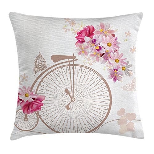 Lunarable Vintage Throw Pillow Cushion Cover, Bicycle with Basket Full of Flowers Daisy Rose Bridal Wedding Wheels Image Print, Decorative Square Accent Pillow Case, 40 X 40 Inches, Beige Pink Daisy Wedding Cover