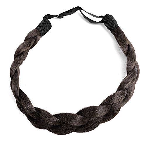 (Ty.Hermenlisa Chunky Synthetic Hair Braided Headband Classic Wide Braids Elastic Stretch Hairpiece Women Beauty accessory, 55g, Chocolate)